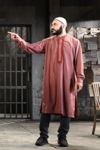 "Maboud Ebrahimzadeh as Bashir in Ayad Akhtar's ""The Invisible Hand"" at Olney Theatre Center through June 10."
