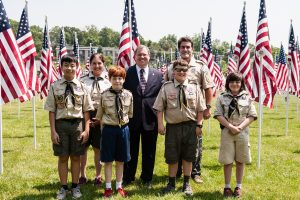 Scouts take part in ceremonies in Bohrer Park.