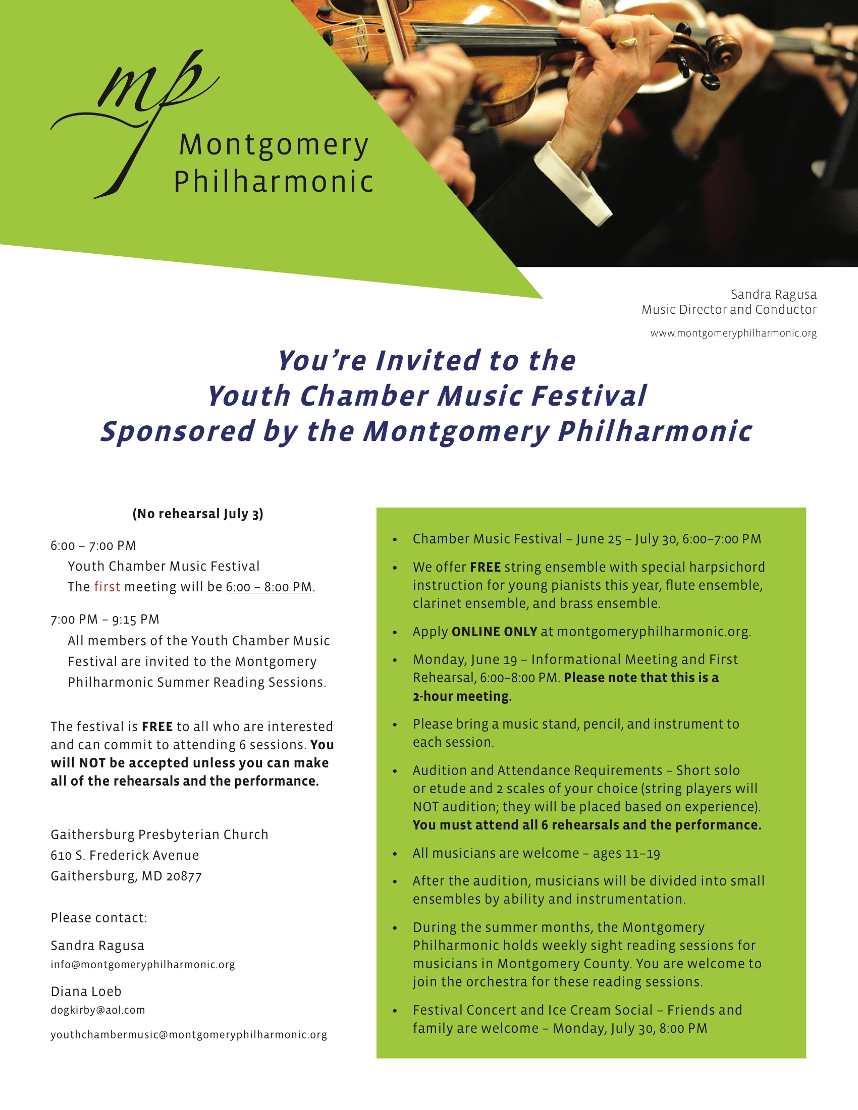 Montgomery Philharmonic Youth Chamber Music Festival