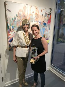 Bethesda Painting Awards founder Carol Trawick and 2018 Best of Show winner Carolyn Case pose at a June 6 private reception.