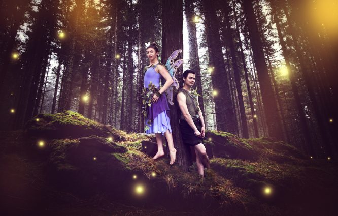 "Tinker Bell (Michelle Polera) and Peter Pan (Carlos Castillo) star In Adventure Theatre's ""Tinker Bell."""