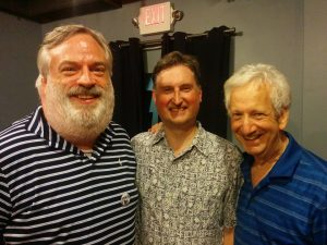 "Playwright Dan Noonan, actor John Morogiello and director Stan Levin after a performance of ""Blue Over You"" at the 2017 Capital Fringe Festival."