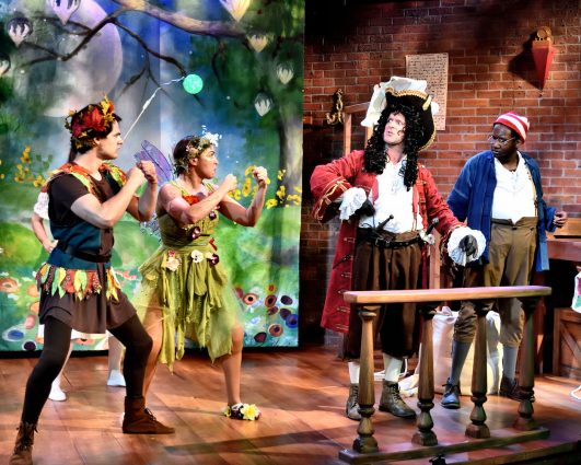 From left, Carlos Castillo as Peter Pan, Michelle Polera as Tink, Peter Boyer as Captain Hook and Topher Williams as Smee.