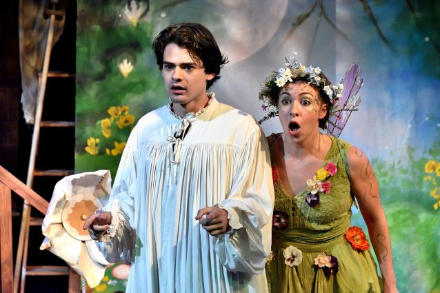 From left, Carlos Castillo plays Peter Pan and Michelle Polera plays Tink.
