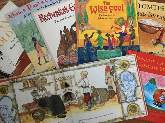 These are some of the covers of the books of international stories that are shared at World Story Time.
