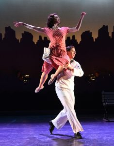 "Built in ballet sequences, featuring Claire Rathbun (Ivy) and Rhett Guter (Gabey), add to the attributes of ""On the Town."""