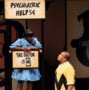 From left, Awa Sal Secka as Lucy and Christopher Michael Richardson as Charlie Brown.