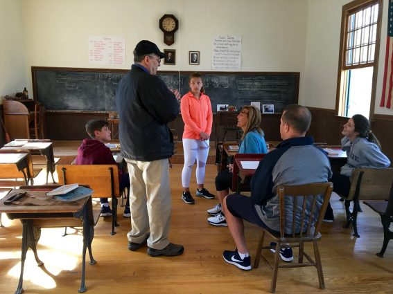 At the one-room Kingsley Schoolhouse in Clarksburg, refurbished to look as it did when it closed in 1935, volunteers host free monthly tours on the first Sunday afternoon of the month.