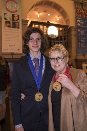 Blair Anderson and Louis Kutyla at Carnegie Hall after the Scholastic Art & Writing Awards Ceremony.