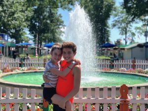 Siblings Sivan and Adam Sohn take time out for run at Rye Playland, an amusement park just outside New York City.