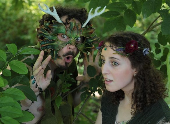 "Puck (Ian Blackwell Rogers) and Faery (Madie Kilner) star in Quotidian Theatre's interpretation of Shakespeare's ""A Midsummer Night's Dream."""
