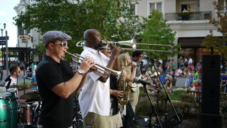On Rio Washingtonian Center's Lakefront Plaza Stage in Gaithersburg, the R&B, soul and funk band 8 Ohms will perform from 6:30 to 8:30 p.m. on Friday, Aug. 31.