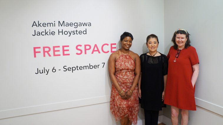 "Curator Amina Cooper (left) with ""Free Space"" artists Akemi Maegawa (center) and Jackie Hoysted (right)."