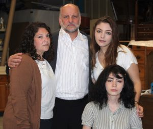 "The Frank family in Rockville Little Theatre's ""The Diary of Anne Frank"" includes, from left, Naomi Ratz and Keith Cassady as Anne's parents, Otto and Edith; Daniela Brigatti as her sister Margot and Julie Kashmanian as Anne."
