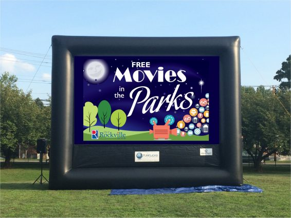 The big screen before sunset on movie night as part of the City of Rockville's Movies in the Parks program.