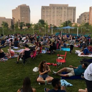 The crowd assembles on the grass, ready for a free movie, courtesy of AFI Silver Theatre and its partners.