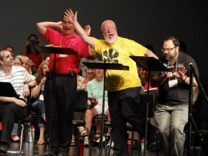 "Patient Men: Blair Eig, left, and David Smith, sing a song from Gilbert and Sullivan's ""Patience"" at the 2013 Sing-Out."