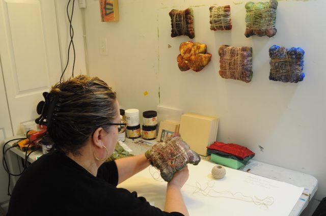 Lori Anne Boocks works in her Germantown studio.