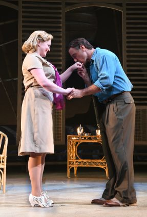 "Jessica Lauren Ball as Nellie Forbush and William Michals as Emile de Becque in Olney Theatre Center's ""South Pacific."""