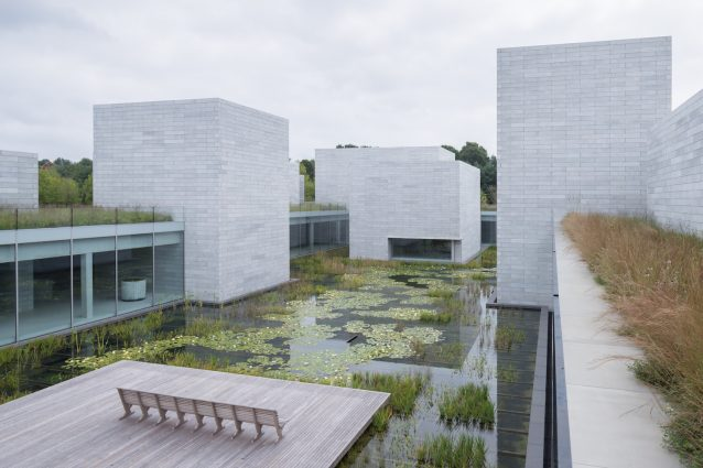 An 18,000-square foot water court anchors the Pavilions at Glenstone.