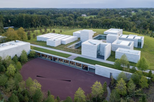 An aerial view of the Pavilions at Glenstone.