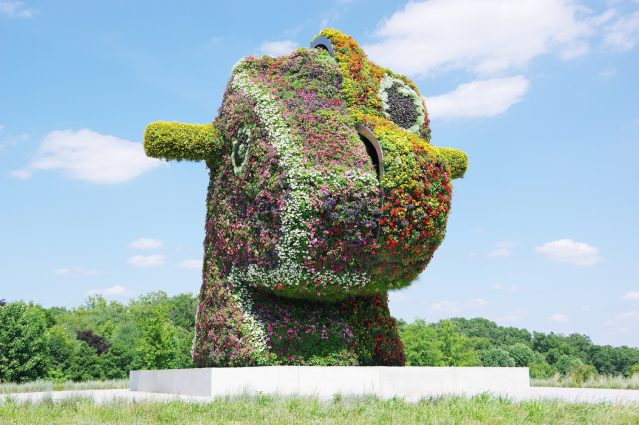 "Jeff Koons's ""Split-Rocker"" (2000) is the first sculpture visitors see at Glenstone Museum."