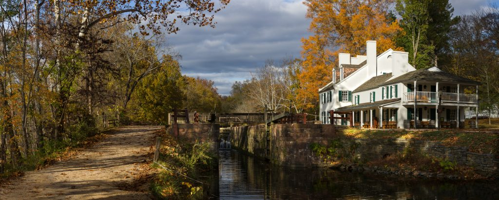 Photographer Roy Sewall is known for his panoramic photographs of the Potomac and the C&O Canal — such as this one, featuring the Great Falls Tavern.