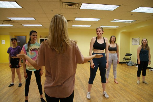 "Choreography apprentice Jenny Dalrymple teaches ""Gimme! Gimme! Gimme!"" from ""Mamma Mia"" to a small group. Also pictured are Paloma Boccasam, Jasmine Mondshine, Devin Lucas, Anna Nowalk and Parker Dymond."