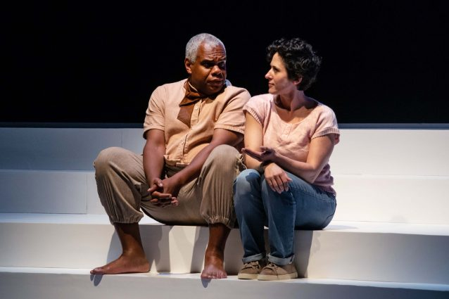 Alyssa Wilmoth Keegan with Craig Wallace, whose Male Greek Chorus character takes on several different roles.