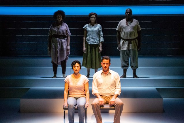 Emily Townley, Daven Ralston and Craig Wallace (rear, left to right) serve as a Greek Chorus as Alyssa Wilmoth Keegan (Li'l Bit) and Peter O'Connor (Uncle Peck) drive.