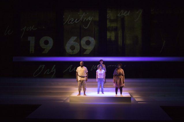 Stark stage, Greek Chorus: Craig Wallace, Alyssa Wilmoth Keegan, Daven Ralston (back row) and Emily Townley.
