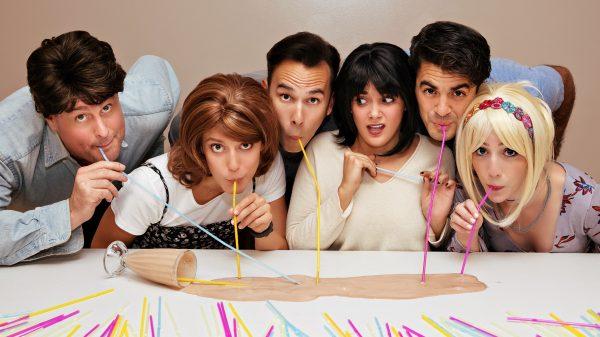 "The cast of ""Friends! The Musical Parody,"" from left: Landon Zwick (Ross), Lisa Graye (Monica), Alan Trinca (Joey), Seth Blum (Chandler), Katie Johantgen (Phoebe) and Patricia Sabulis (Rachel)."