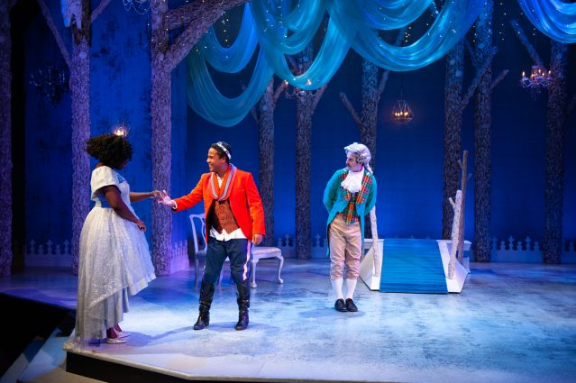From left, Awa Sal Secka as Cinderella, Jay Frisby as Prince Jason and Michael Wood as Wesley at Imagination Stage.