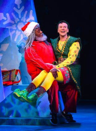 "Kevin McAllister as Santa and David Schlumpf as Buddy in ""Elf the Musical"" at Olney Theatre Center."