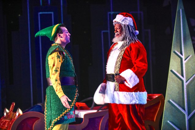 "Santa's baby: David Schlumpf as Buddy and Kevin McAllister as Santa in ""Elf the Musical."""