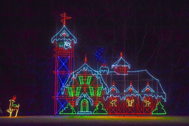 The North Pole is one of the themes of the Winter Lights Festival at Seneca Creek Park in Gaithersburg.