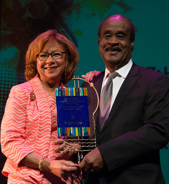 "Catherine Leggett was presented with a Lifetime Impact Award by her husband, Montgomery County Executive Isiah ""Ike"" Leggett."