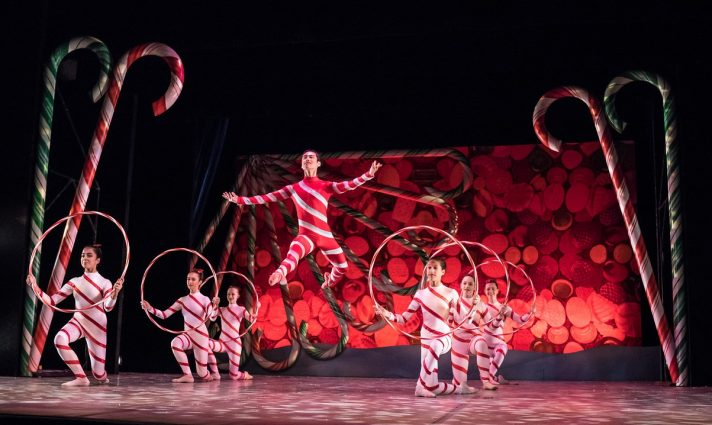 In Olney Ballet Theatre's Kingdom of the Sweets, Mo Liu performs with Leyla Akselioglu, Chloe Norris, Castille Dennison, Aliya Whaley, Caitlyn Snow and Brooke Gallagher.