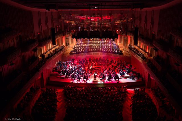 In a performance at the Music Center at Strathmore, the MCYO is joined by the National Philharmonic Chorale (center) and members of the Strathmore Children's Chorus.