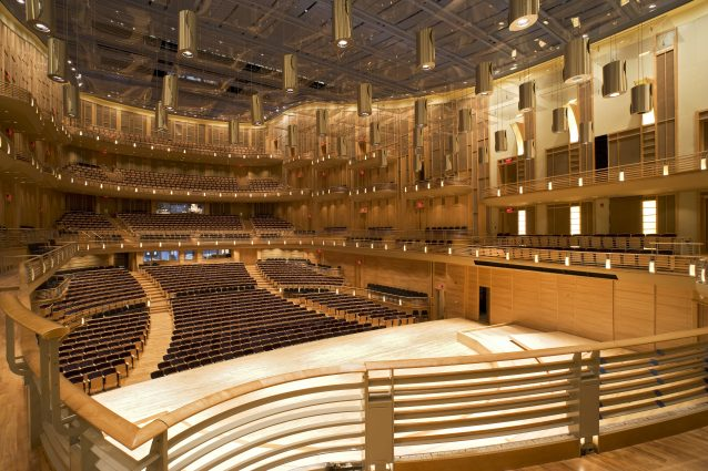 The Music Center at Strathmore seats 1,976 and its canopy of 43 individually controlled acrylic panels can be adjusted to fine-tune sound for clarity and reverberation, creating an excellent acoustic experience for artists and audiences.