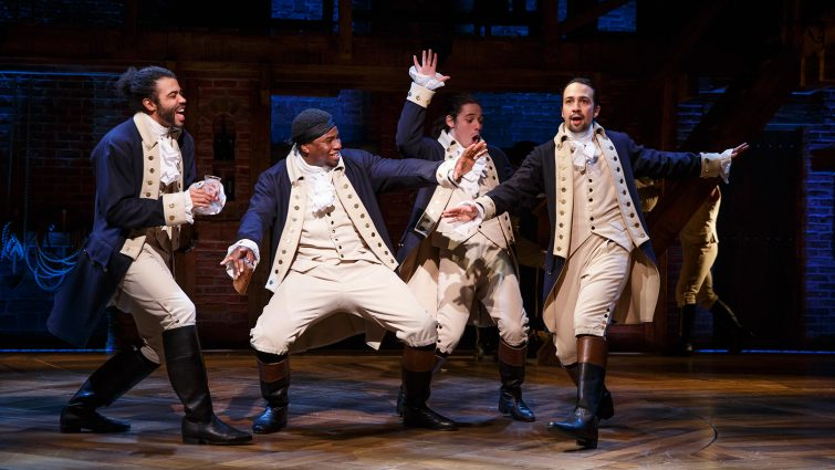 "Founding Fathers: Daveed Diggs, Okieriete Onaodowan, Anthony Ramos and Lin-Manuel Miranda in ""Hamilton: An American Musical"" on Broadway."