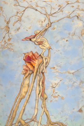 """Artist Micheline Klagsbrun's haunting color pencil and pastel work, """"The Conductor hears the music of the Spheres,"""" illustrates her belief in music as a """"powerful force of continuity between generations."""