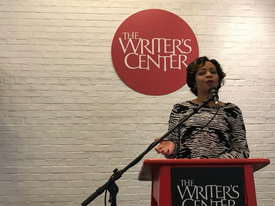 Poet Canden Webb performs at a Writer's Center Open Mic event.