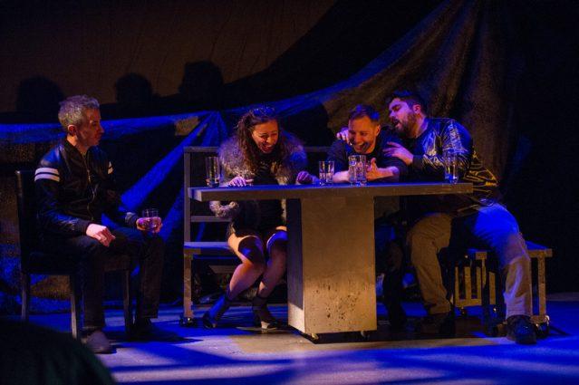 Carlos Saldana (Grigor), Dina Soltan (Debbie), Josh Adams (James) and Dylan Arredondo (Martin) begin the night as strangers in a club in Reykjavik.