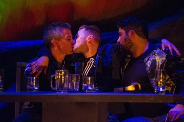 Carlos Saldana (Grigor), Josh Adams (James) and Dylan Arredondo (Martin) get to know each other in a club in Reykjavik.