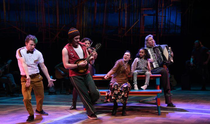 "In ""Once"" at Olney Theatre, the orchestra also serves as the ensemble cast, creating funny, memorable characters. John Sygar (Andrej), Carlos Castillo (Svec), Daven Ralston (Reza), Malinda Kathleen Reese (Girl), Somaya Litmon (Ivanka), and Emily Mikesell (Baruska)."