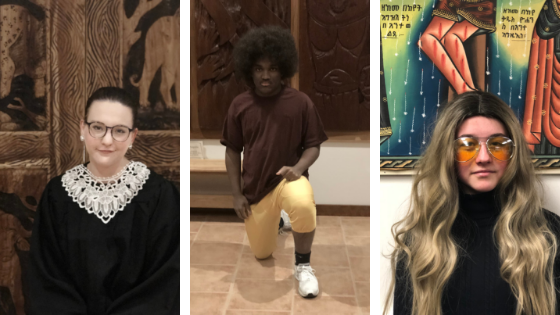From left to right;Christine Jacobs as Ruth Bader Ginsberg, Trevor Whitaker as Colin Kaepernick and Calin Russell as Gloria Steinem