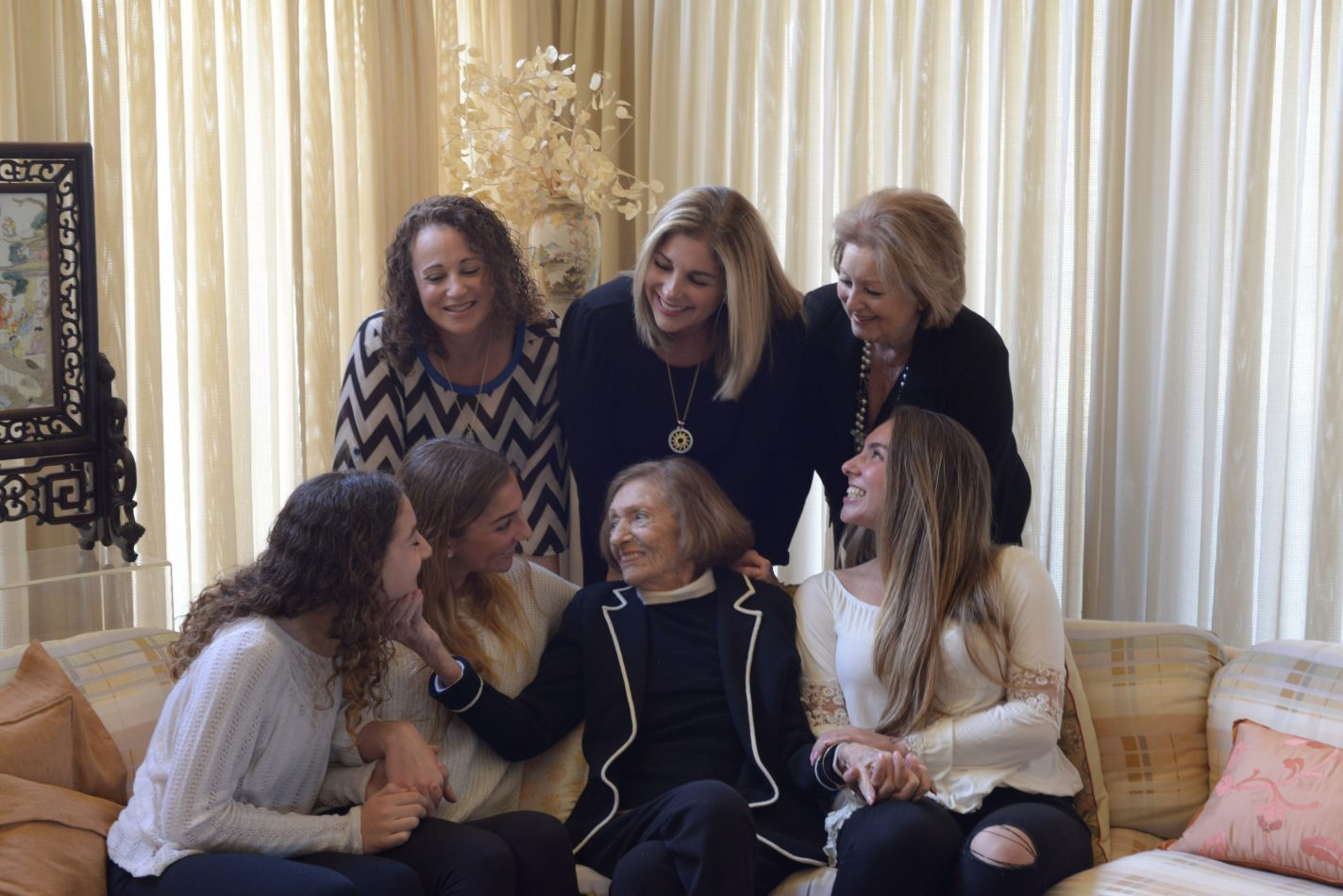 Heidi Hookman Brodsky, JCC board chair and a lawyer and community leader, poses with her family's four generations of women, rear, from left, Wendy Hookman-Vassa, Heidi Hookman Brodsky, Susan Hookman; and front, from left, Olivia Hookman-Vassa, Jillian Brodsky, Raye Swartz-Keller, Claire Brodsky.