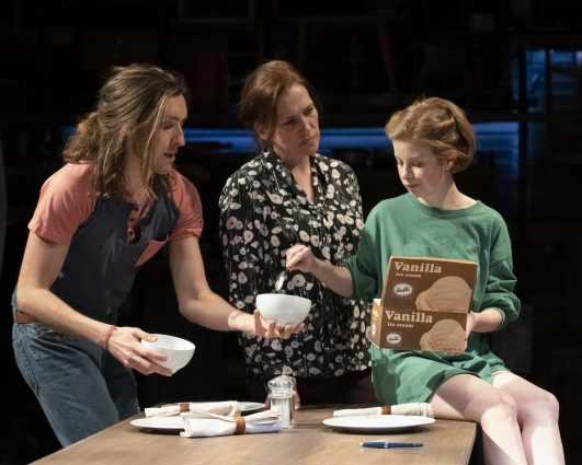 """Sam Saint Ours as Nate, Catherine Eaton as May and Megan Graves as Amy in """"Oil."""""""
