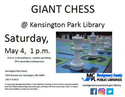 Outdoor Giant Chess Game @ Kensington Park Library...